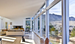 living room with expansive windows